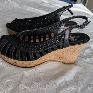 Crown Vintage leather wedge sandals